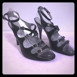 Guess Black Leather Strappy Heels